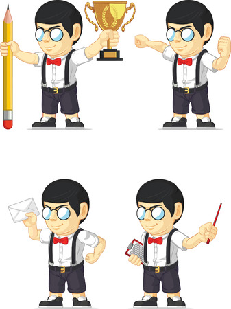 Nerd Boy Customizable Mascot 13 Vector