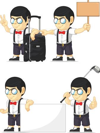 Nerd Boy Customizable Mascot 15 Vector