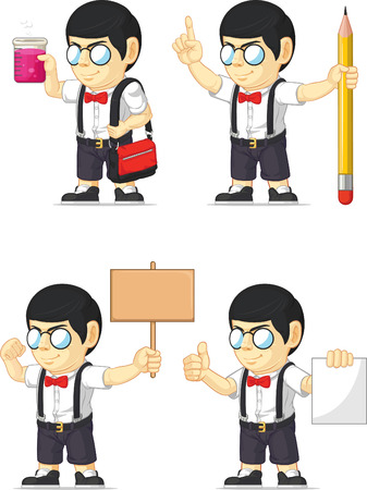 Nerd Boy Customizable Mascot 19 Vector