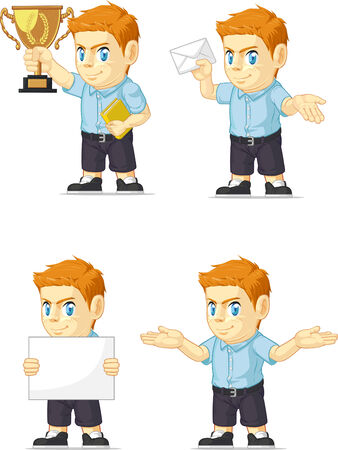 Red Head Boy Customizable Mascot 2 Vector