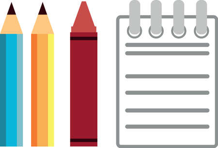 Pencil, Crayon   Notebook Vector