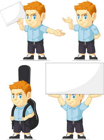 Red Head Boy Customizable Mascot 5 Vector