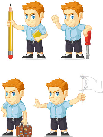 Red Head Boy Customizable Mascot 8 Vector
