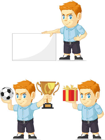 Red Head Boy Customizable Mascot 4 Vector