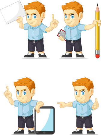 Red Head Boy Customizable Mascot 10 Vector