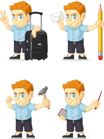 red head: Red Head Boy Customizable Mascot 13