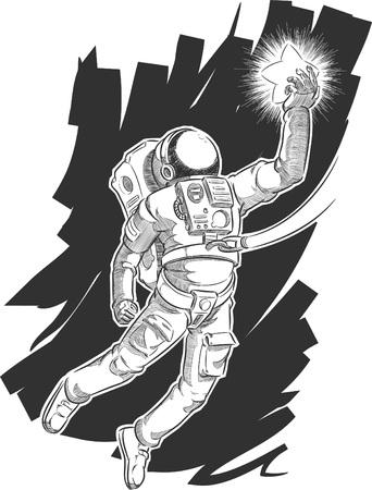 zero gravity: Sketch of Astronaut or Spaceman Grabbing a Star
