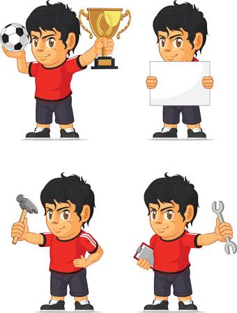hispanic boy: Soccer Boy Customizable Mascot Illustration