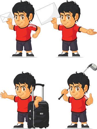 hispanic boy: Soccer Boy Customizable Mascot 16 Illustration