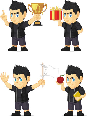 Spiky Rocker Boy Customizable Mascot Vector