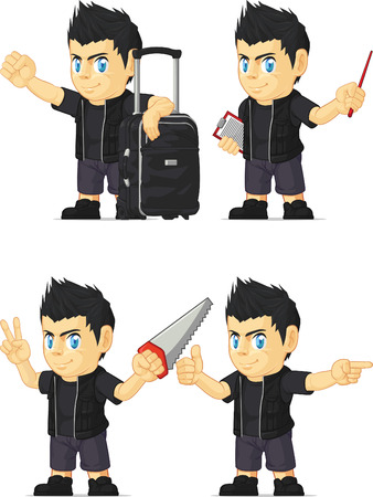 Spiky Rocker Boy Customizable Mascot 7 Vector