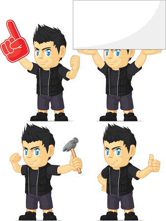 Spiky Rocker Boy Customizable Mascot 13 Vector