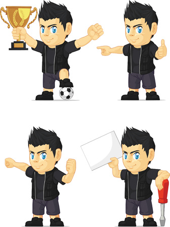 Spiky Rocker Boy Customizable Mascot 17 Vector