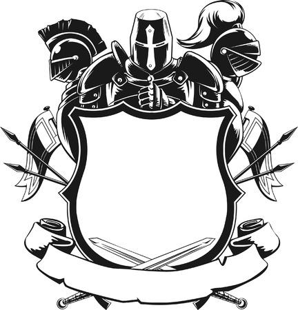騎士の盾シルエット飾り  イラスト・ベクター素材