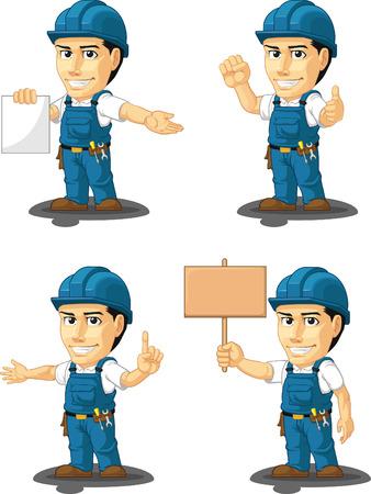 customizable: Technician or Repairman Customizable Mascot 12