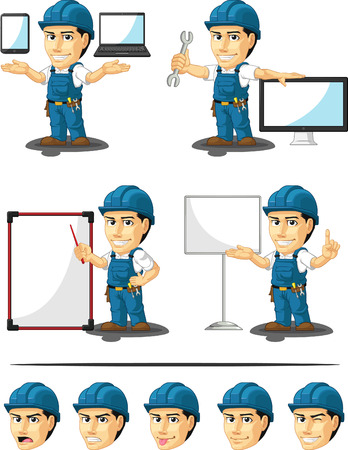 maintenance technician: Technician or Repairman Customizable Mascot 16