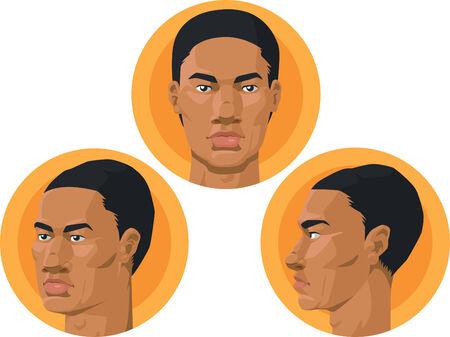 side profile: Head - African American Man