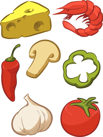 Pizza Ingredient - Tomato, Cheese, Pepper, Onion Vector