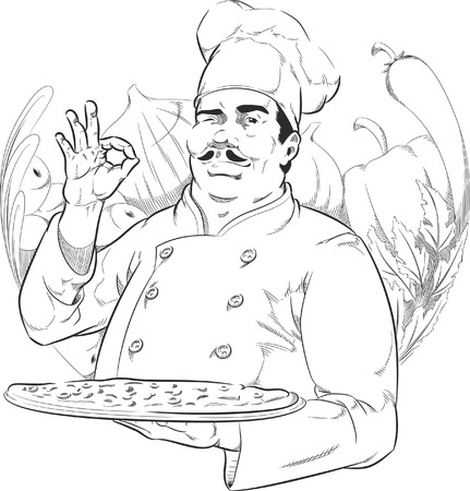 chefs cooking: Sketch of Pizzeria Chef Holding Pizza Pan