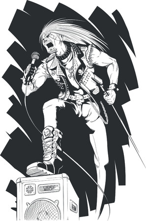 vocalist: Sketch of Rocker Singing on Concert Illustration