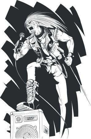 Sketch of Rocker Singing on Concert Vector