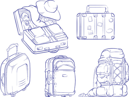 open suitcase: Sketch of Travel Suitcase and Bag