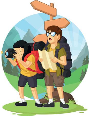Cartoon of Backpacker Boy   Girl Enjoying Vacation