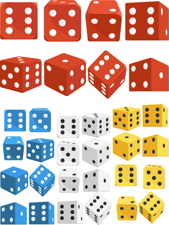 probability: Dice in Several Positions and Colors Illustration