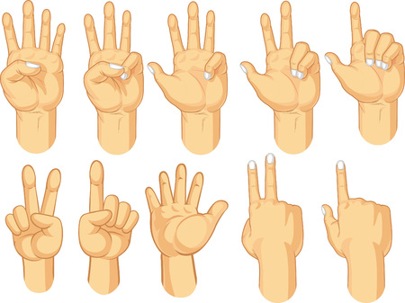 Hand Sign Collection - Counting Gestures Vector