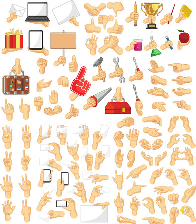 ok sign language: Hand Sign Collection Illustration