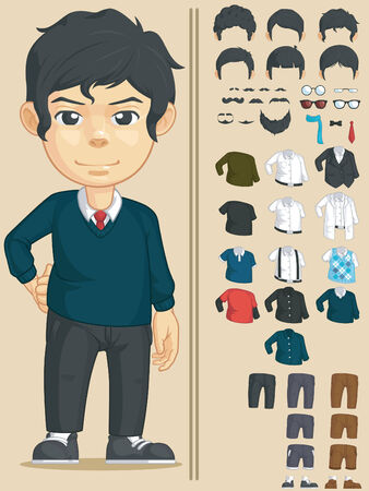 young business man: Handsome Man Customizable Character Illustration