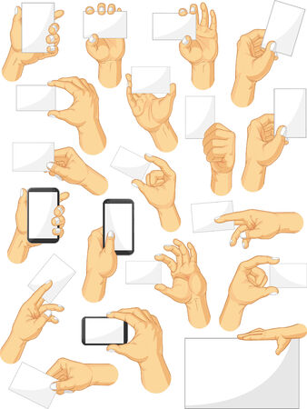 Hand Sign Collection - Holding Sign and Gadget Gestures Vector
