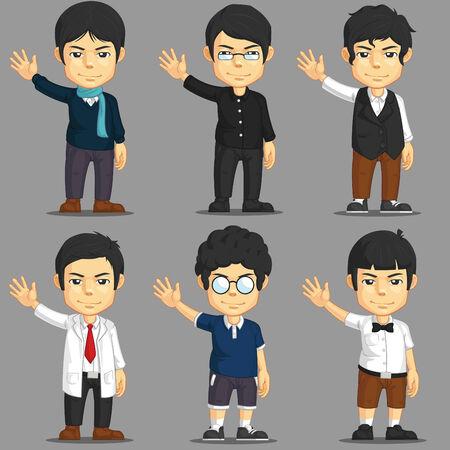 suspender: Man Cartoon Character Set Illustration