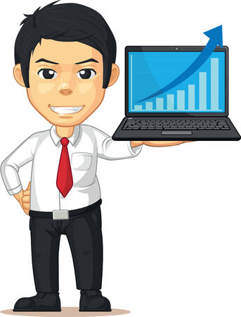 Man with Increasing Graph or Chart on Laptop Vector