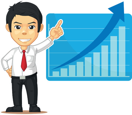 Man with Increasing Graph or Chart Vector