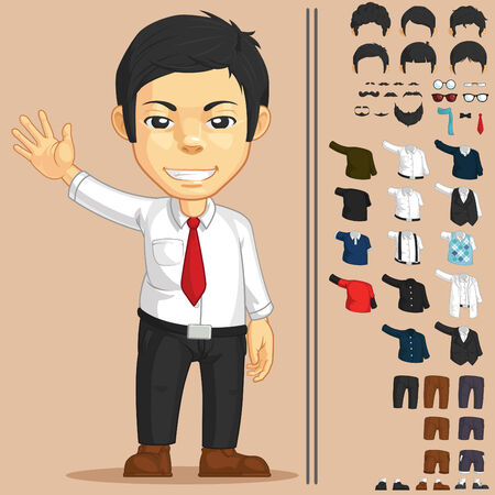 suspender: Office Worker Customizable Character Illustration