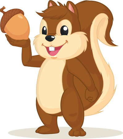 isolated squirrel: Squirrel Mascot Holding Nut