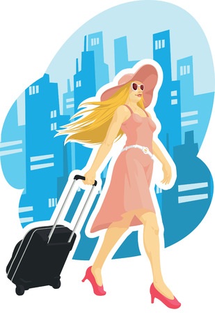 dragging: Woman Tourist Travelling with City Background