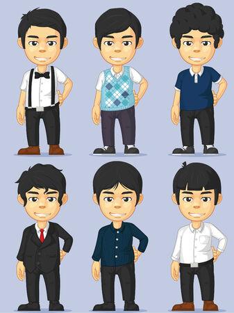 stylish boy: Young Man Character Set Illustration