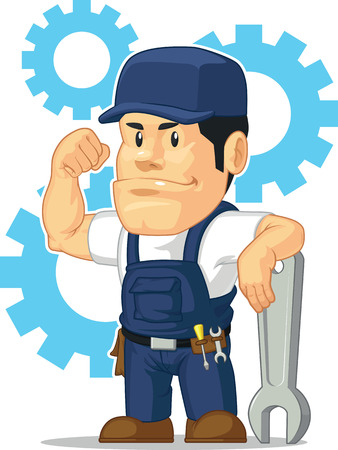 Cartoon of Strong Mechanic with Wrench Illustration