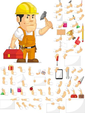 Sterke Bouwvakker Aanpasbare Mascot Set