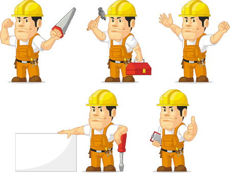 labor strong: Strong Construction Worker Mascot