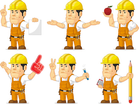 labor strong: Strong Construction Worker Mascot 7 Illustration