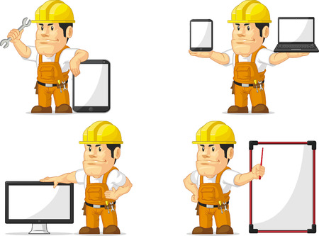 Strong Construction Worker Mascot 12 Vector