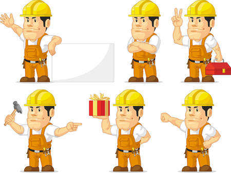 construction hat: Strong Construction Worker Mascot 10