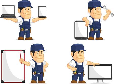 handy: Strong Mechanic Mascot 12 Illustration