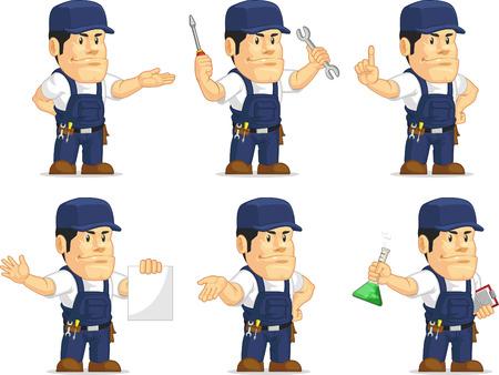 Strong Mechanic Mascot 10 Vector
