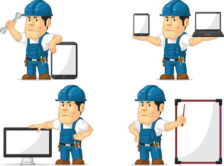 computer repair technician: Strong Technician Mascot 12