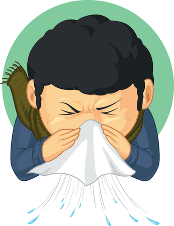 Boy Caught Flu and Sneezing Vector