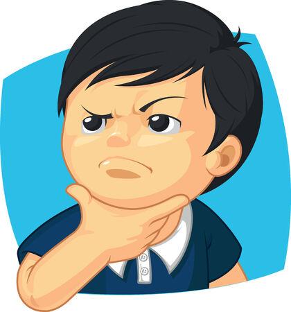 suspicious: Expression - Boy Thinking Illustration